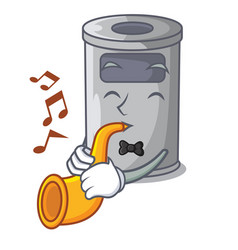 With trumpet cartoon steel trash can in the room vector