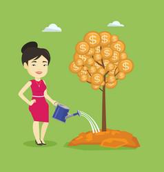 woman watering money tree vector image