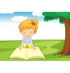 a girl reading book vector image vector image