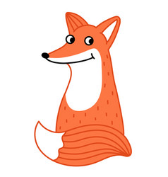 cute little fox hand drawn cartoon character vector image