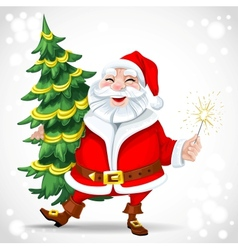 Cute Santa Claus holding Christmas tree vector image vector image