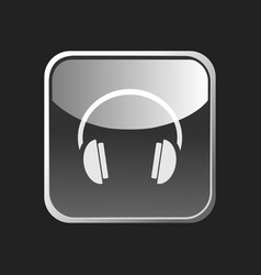 headphones icon on a square button on dark vector image