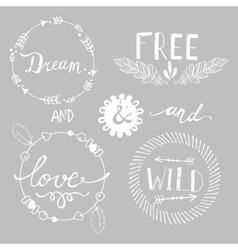 Set of Boho Style Frames and elements vector image vector image
