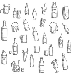 Beverages cocktails and drinks sketched icons vector image vector image