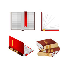books with bookmarks isolated and folded in pile vector image