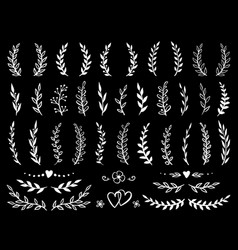 Branches and wreaths set vector