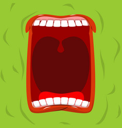 green monster with his mouth open scary ghost vector image