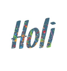 Holi Festival Word with Paint Stains vector image