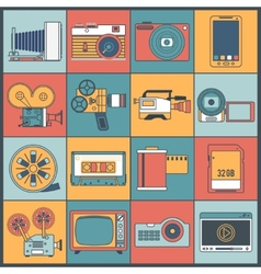Photo video icons flat line vector image