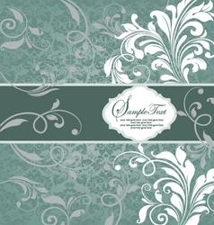 vintage blue damask invitation with floral element vector image vector image
