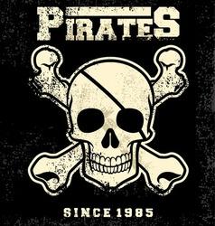 vintage pirate skull mascot vector image vector image