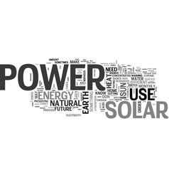 what you need to know about solar power text word vector image vector image