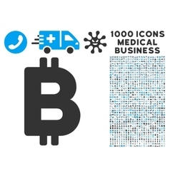 Bitcoin Icon with 1000 Medical Business Pictograms vector image