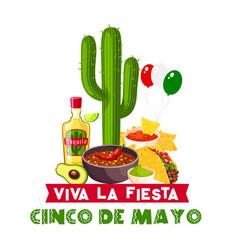 cinco de mayo mexican fiesta food and drink icon vector image vector image