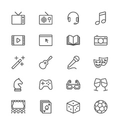 Entertainment thin icons vector image