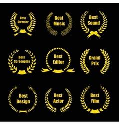 Film awards gold award wreaths on black background vector