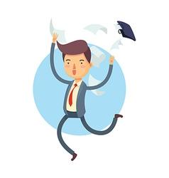 Happy Businessman Throw His Bag Away vector image