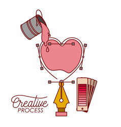 Nib design a heart with paint bucket spilling vector