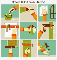Repair their own hands Set of home remodeling vector image vector image