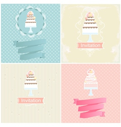 Set of invitation designs with cakes vector image