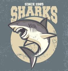 vintage shark mascot vector image vector image