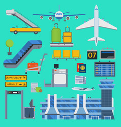 aviation airport icons set travel airline vector image