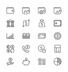 Financial management thin icons vector image