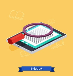 Flat 3d isometric e-book reader and books vector image