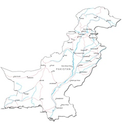 Pakistan Black White Map vector image vector image