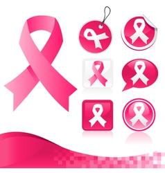 Pink Ribbons Kit vector image