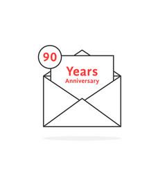thin line 90 years anniversary logo like black vector image vector image