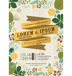 wedding invitation card with flourish background vector image vector image
