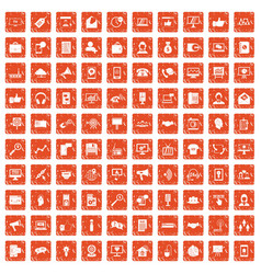 100 help desk icons set grunge orange vector