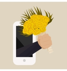 A bouquet of yellow roses with hand from the phone vector image