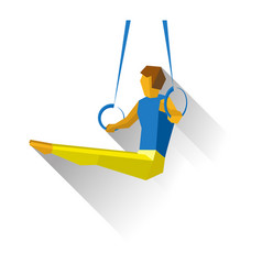 Artistic gymnastics - gymnast on rings vector