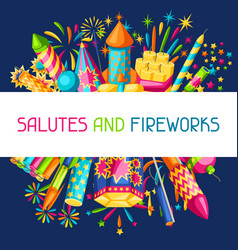 background with colorful fireworks different vector image