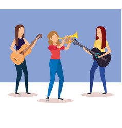 Band playing trumpet and guitars vector