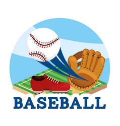 Baseball sport with ball and glove equipment vector