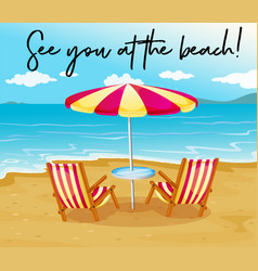Beach scene with phrase see you at beach vector