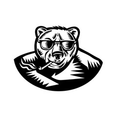 Bear smoking cigar woodcut vector