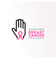breast cancer care pink ribbon support text quote vector image