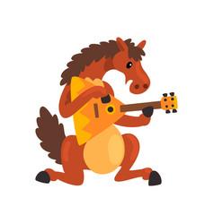 brown horse playing the balalaika cute musician vector image