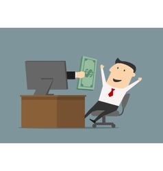 Businessman receiving money online through vector image