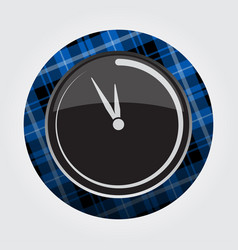 button with blue black tartan - last minute clock vector image