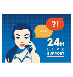 Call center operator with headset poster client vector