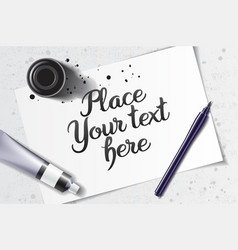 Calligraphy white mockup vector