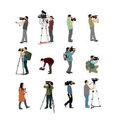 Cameraman crew follows event collection vector