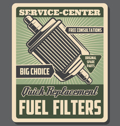 Car fuel filters replacement service vector