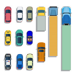 cars and trucks top view flat icons vector image