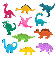 cartoon color cute dinosaurs icon set vector image